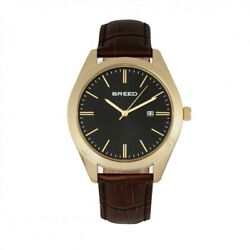 Breed BRD7905 Louis Leather Band Watch with Date Gold Brown amp; Black $82.28