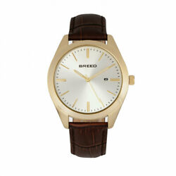 Breed BRD7904 Louis Leather Band Watch with Date Gold Brown amp; Silver $82.28