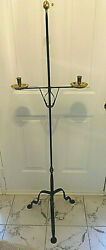 RARE WILLIAMSBURG DEAN FORGE HANDMADE BRASS AND IRON FLOOR CANDLE STAND