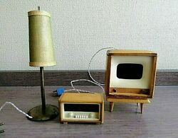 Vintage Dollhouse Furniture Miniatures Tv Stereo And Lamp Wooden Toys In Origina