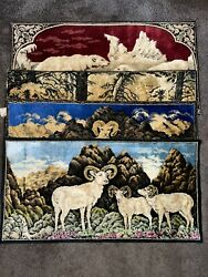Vintage Tapestry Lot 4 Ramallah Trading Italy Bears Goats Wildlife 20quot;x38quot;