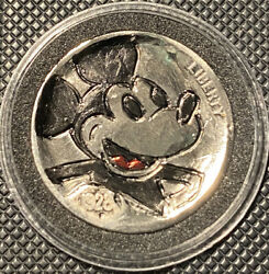 Hand Carved Engraved Hobo Nickel Coin 1928 Mickey Mouse $12.75