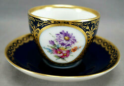 Kpm Berlin Hand Painted Floral Floral Cobalt And Gold Tea Cup And Saucer F