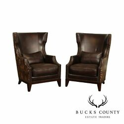 Brown Leather Zebra Print Pair Wing Chairs