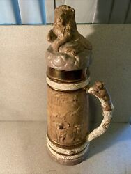 Rare Antique Pottery Beer Stein Lion Lid Animals All Around Large