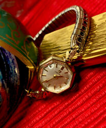 Omega Manual Winding Ladies Jewelry Watch Collectors Piece 14k Yellow Gold