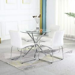 Modern Glass Table Chairs Set Round Dining Table / Faux Leather High Back Chairs