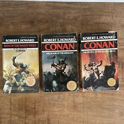 X3 Conan Books Hour Of The Dragon, People Of The Black Circle, White Wolf