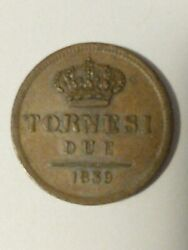 1839 Italian States 2 Tornesi Naples And Sicily Copper Coin Italy