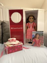 Nib American Girl Doll Marie Grace With Book Hat Fan And Necklace - Box Damaged