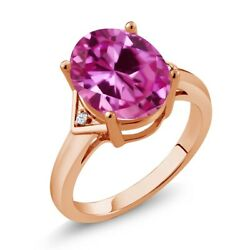 6.02 Ct Oval Pink And White Created Sapphire 18k Rose Gold Plated Silver Ring