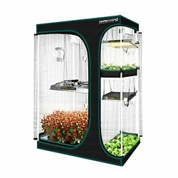 Grow Tent With Observation Window And Floor Tray For Indoor Growing Black Color
