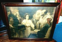Antique Religious Lithograph Print Of Jesus Christ Child In The Temple 1881 Vtg