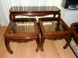 Mahogany Solid Wood Living Room Tables Set 1 Coffee, 2 Side, 1 Console Tables