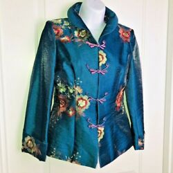 Asian Embroidered Jacket Sz Xs Frog Closure Teal Blue Shantung Pink Floral Euc