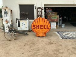 Shell Gasoline 48in. Double Sided Porcelain Gas Station Sign