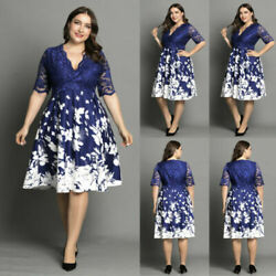 Plus Size Womens Lace Floral Midi Dress Ladies Evening Party Cocktail Prom Gown $30.99