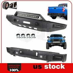 Front Rear Bumper Guard For 2014-2019 Toyota Tundra W Led Lights D-rings Black