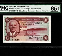 Malawi 10 Shillings 1964 P-2aa Pmg Gem Unc 65 Epq Second Issue