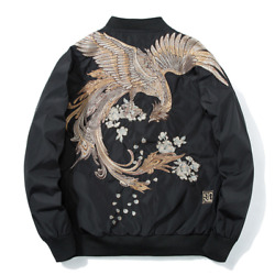 Mens Baseball Jackets Stand Collar Embroidery Youth Loose Outwear Long Sleeve Sz