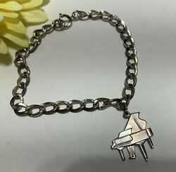 Vintage Wells Sterling Silver Piano Charm With Etched 925 Bracelet 8.4g