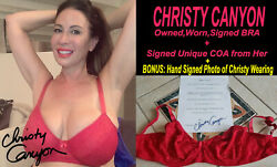 Adult Film Star Christy Canyon Signed Owned/worn Bra W/coa And Signed 8.5x11 Photo