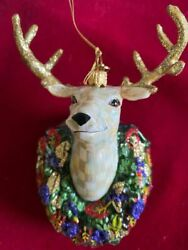 Mackenzie Childs Parchment Check Deer Glass Ornament- New In Box- Hard To Find