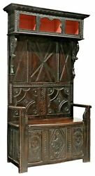 Antique Hall Tree / Bench French Carved Wood Walnut W/ Storage 1800and039s