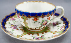 Dr Wall Worcester Hand Painted Floral Cobalt Green And Gold Tea Cup And Saucer A