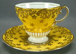 Eb Foley Y2918 Pattern Yellow And Gold Floral Vintage Bone China Tea Cup And Saucer