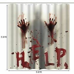 Halloween Shower Curtain Set For Bathroom Scary Horror Help Me With Bloody Hands