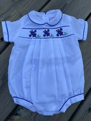 Petit Ami Smocked White Bubble Romper Size Preemie Airplanes Embroidered