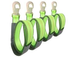 2 X 8and039 Green Wheel Lift Strap With Flat Snap Hook 4 Pack Lasso Reinforced Tow