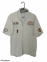 Harley Davidson Racing Men's Size Large Embroidered Patches Button Up 90s 00s
