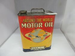 Vintage Advertising Around The World Motor Oil 2 Gallon Can Tin  Shop Ym-652