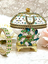 Green Faberge Egg Musical Jewelry Box Present Real Egg Hand Carved 24k Wife Gift
