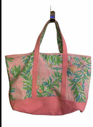 Lilly Pulitzer large Tote Bag Canvas Pink Leaves Tropical Beautiful Tote $52.46