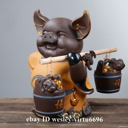 Home Decoration Chinaware Pottery Porcelain China Zodiac Wealth Coin Pig Statue