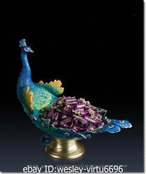 China Pure Brass Copper Hand Painting Bird Peafowl Peacock Candy Tray Sculpture