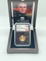 2021 W 1/4 Oz Proof Gold Eagle Ngc Pf70 Signed By Mercanti Quarter Ounce G10