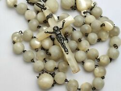 Antique Art Nouveau Large French Rosary Silver Mop Cross Beads