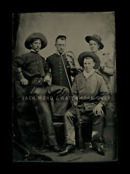 Armed Cowboys And Soldiers - Antique Tintype Photo 1800s - Excellent