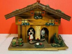 Vintage German Thermometer Wooden Weather House, Size 9x7x3.5