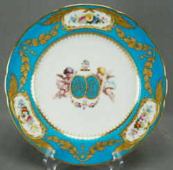 Minton Hand Painted Cherubs Armorial Monogram Turquoise Floral And Gold Plate B