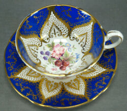 Paragon Strawberries Blackberries Cobalt And Gold Bone China Tea Cup And Saucer