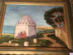 Antique Islamic Framed Arabic Painting Original Ancient Oil Signed