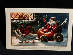 Scarce-red Elves Driving Geese Pulling Santa In Nut Shell Sleigh Xmas Postcard