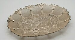 Antique 19th Sterling Silver Filigree Indian India Grape Motif Tray Plate 201gr