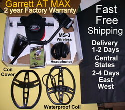 Garrett At Max Metal Detector With 8.5x11 Coil And Wireless Headphones Fast Ship
