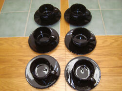 Mikasa China Opus Black Galleria Fk701 Calla Lilly 6 Cups And 6 Saucers